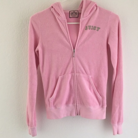 Juicy Couture Jackets   Blazers - Baby Pink Juicy Couture Terry Hoodie  Track Jacket 7790642d27